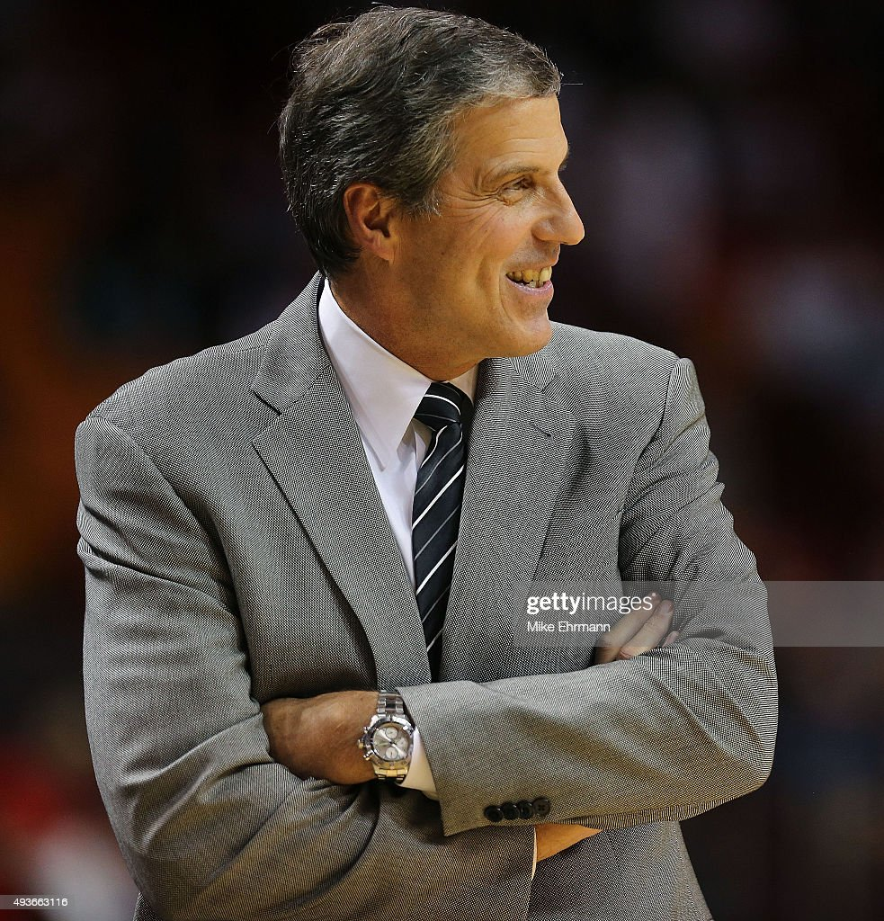 Head coach <a gi-track='captionPersonalityLinkClicked' href=/galleries/search?phrase=Randy+Wittman&family=editorial&specificpeople=679109 ng-click='$event.stopPropagation()'>Randy Wittman</a> of the Washington Wizards looks on during a preseason game against the Miami Heat at American Airlines Arena on October 21, 2015 in Miami, Florida.