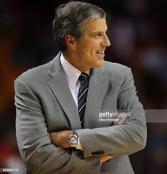 Head coach Randy Wittman of the Washington Wizards looks on during a preseason game against the Miami Heat at American Airlines Arena on October 21...