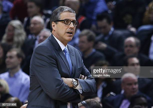 Head Coach Randy Wittman of the Washington Wizards looks on during an NBA game against the Toronto Raptors at the Air Canada Centre on January 26...