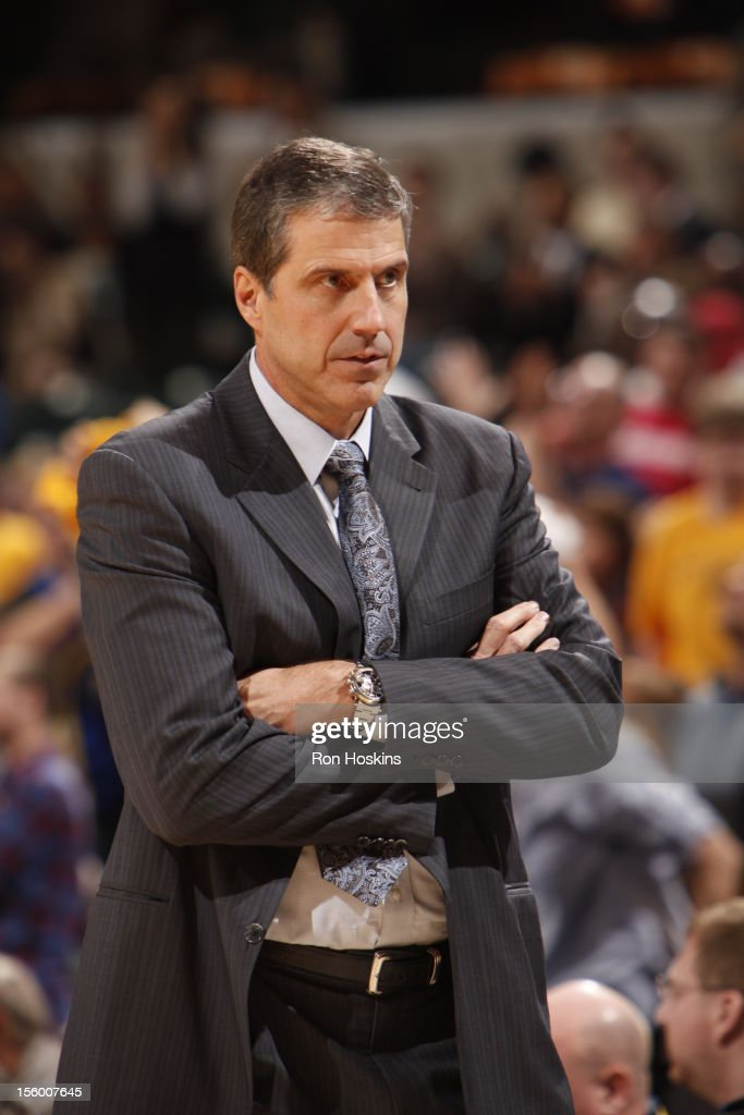 Head Coach <a gi-track='captionPersonalityLinkClicked' href=/galleries/search?phrase=Randy+Wittman&family=editorial&specificpeople=679109 ng-click='$event.stopPropagation()'>Randy Wittman</a> of the Washington Wizards looks on during the game between the Indiana Pacers and the Washington Wizards on November 10, 2012 at Bankers Life Fieldhouse in Indianapolis, Indiana.