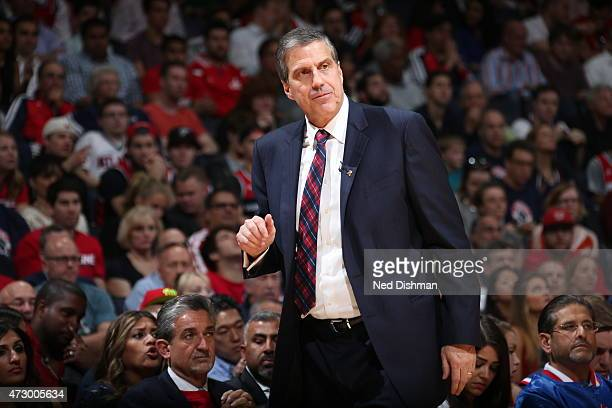 Head Coach Randy Wittman of the Washington Wizards looks on during the game against the Atlanta Hawks in Game Four of the Eastern Conference...