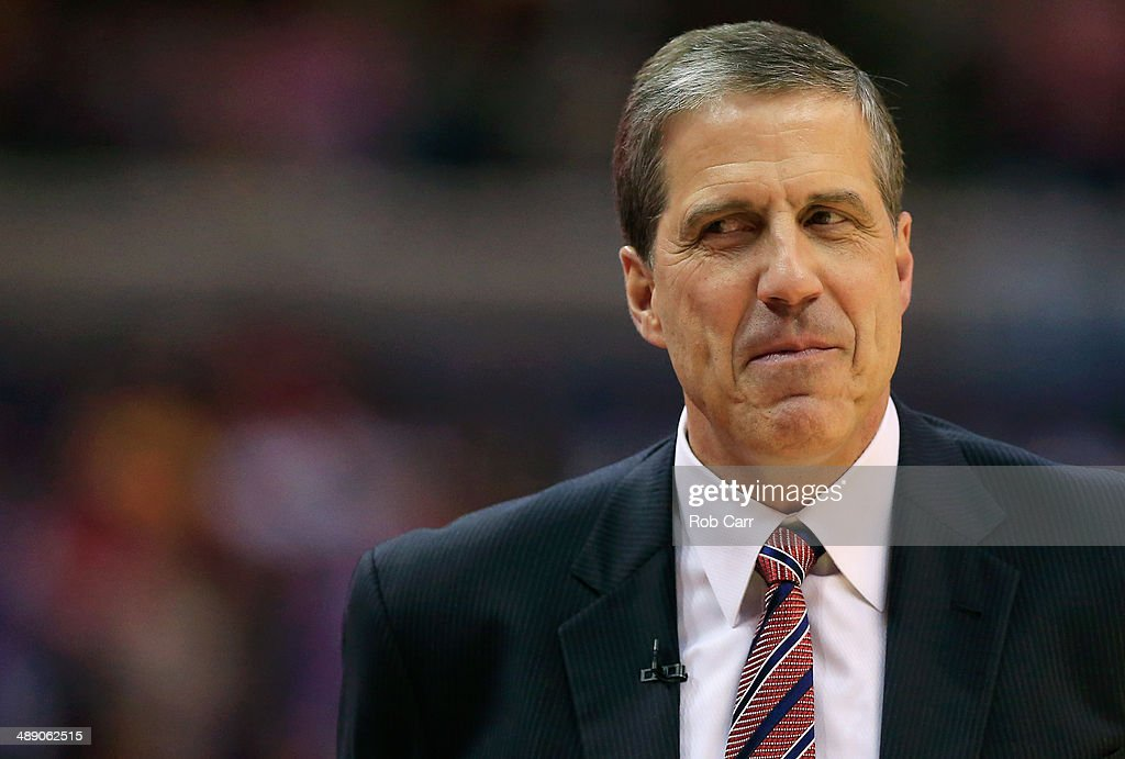 Head coach Randy Wittman of the Washington Wizards looks on during the first half against the Indiana Pacers during Game 3 of the Eastern Conference...