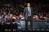 Head Coach Randy Wittman of the Washington Wizards looks on during the game against the Detroit Pistons on February 19 2016 at Verizon Center in...