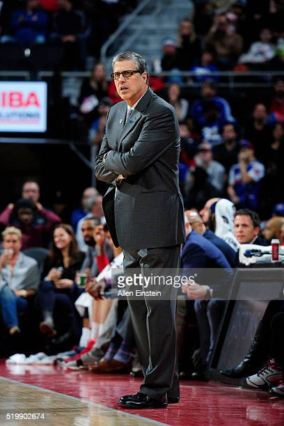 Head Coach Randy Wittman of the Washington Wizards looks on during the game against the Detroit Pistons on April 8 2016 at The Palace of Auburn Hills...