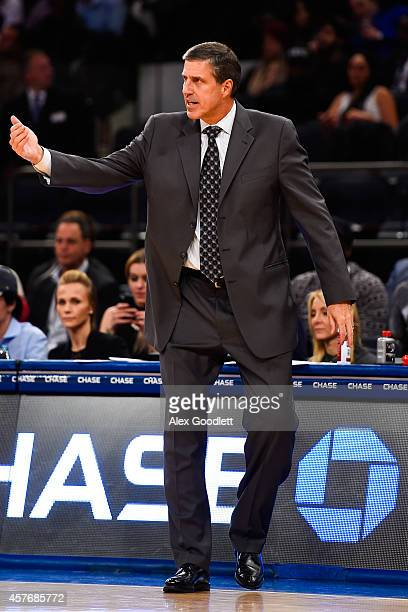 Head coach Randy Wittman of the Washington Wizards looks on in a preseason game against the New York Knicks at Madison Square Garden on October 22...