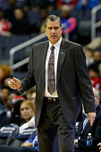 Head coach Randy Wittman of the Washington Wizards looks on in the first half against the Sacramento Kings at Verizon Center on December 21 2015 in...