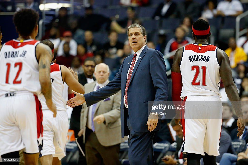 Head coach Randy Wittman of the Washington Wizards looks on in the first half against the Atlanta Hawks at Verizon Center on April 13 2016 in...