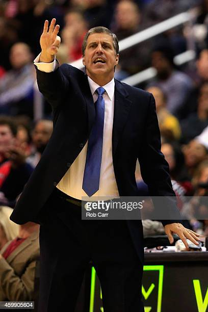 Head coach Randy Wittman of the Washington Wizards motions from the sidelines during the first half of the Wizards 11195 win over the Los Angeles...