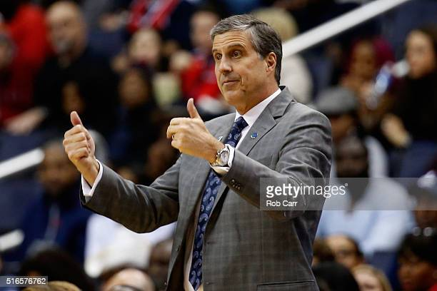 Head coach Randy Wittman of the Washington Wizards motions from the bench in the first half against the Washington Wizards at Verizon Center on March...