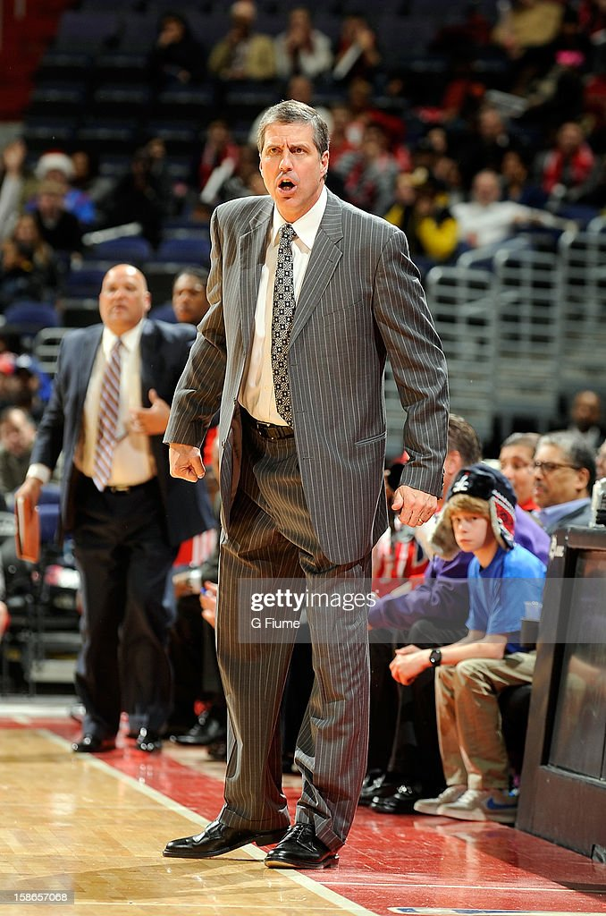 Head coach <a gi-track='captionPersonalityLinkClicked' href=/galleries/search?phrase=Randy+Wittman&family=editorial&specificpeople=679109 ng-click='$event.stopPropagation()'>Randy Wittman</a> of the Washington Wizards reacts after being called for a technical foul during the game against the Detroit Pistons at the Verizon Center on December 22, 2012 in Washington, DC.