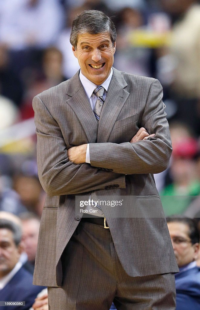 Head coach <a gi-track='captionPersonalityLinkClicked' href=/galleries/search?phrase=Randy+Wittman&family=editorial&specificpeople=679109 ng-click='$event.stopPropagation()'>Randy Wittman</a> of the Washington Wizards reacts on the sideline during the second half of the Wizards 101-99 win over the Oklahoma City Thunder at Verizon Center on January 7, 2013 in Washington, DC.