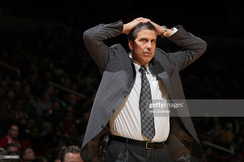 Head Coach <a gi-track='captionPersonalityLinkClicked' href=/galleries/search?phrase=Randy+Wittman&family=editorial&specificpeople=679109 ng-click='$event.stopPropagation()'>Randy Wittman</a> of the Washington Wizards reacts to a call against the Detroit Pistons during the game at the Verizon Center on December 22, 2012 in Washington, DC.