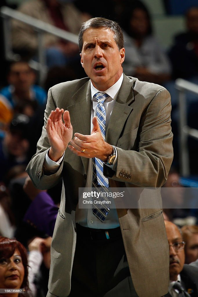 Head coach <a gi-track='captionPersonalityLinkClicked' href=/galleries/search?phrase=Randy+Wittman&family=editorial&specificpeople=679109 ng-click='$event.stopPropagation()'>Randy Wittman</a> of the Washington Wizards reacts to a play against the New Orleans Hornets at New Orleans Arena on December 11, 2012 in New Orleans, Louisiana.