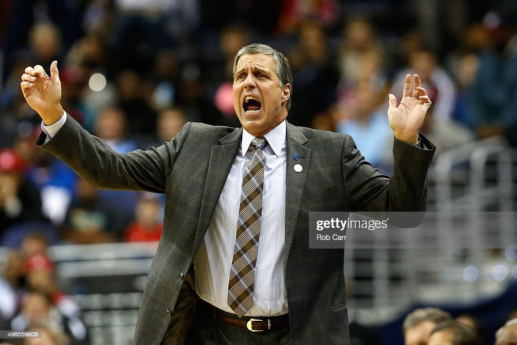 Head coach Randy Wittman of the Washington Wizards reacts to a play against the Oklahoma City Thunder in the first half at Verizon Center on November 10, 2015 in Washington, DC.