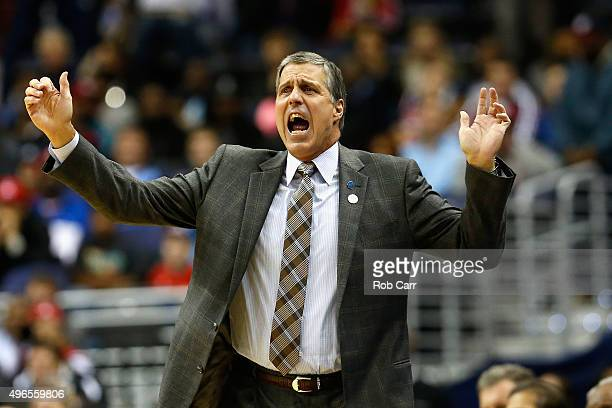 Head coach Randy Wittman of the Washington Wizards reacts to a play against the Oklahoma City Thunder in the first half at Verizon Center on November...
