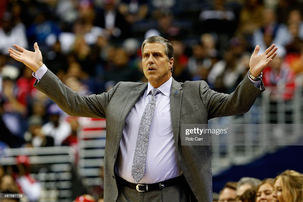 Head coach <a gi-track='captionPersonalityLinkClicked' href=/galleries/search?phrase=Randy+Wittman&family=editorial&specificpeople=679109 ng-click='$event.stopPropagation()'>Randy Wittman</a> of the Washington Wizards reacts to a play against the Milwaukee Bucks in the first half at Verizon Center on November 17, 2015 in Washington, DC.