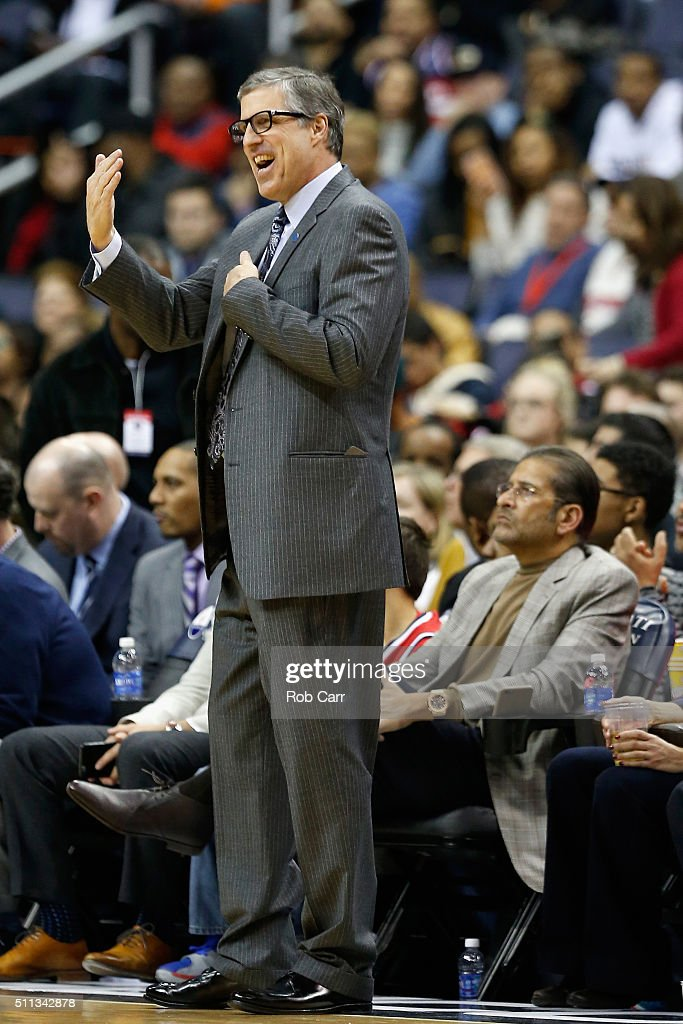 Head coach Randy Wittman of the Washington Wizards reacts to a play in the first half against the Detroit Pistons at Verizon Center on February 19, 2016 in Washington, DC.