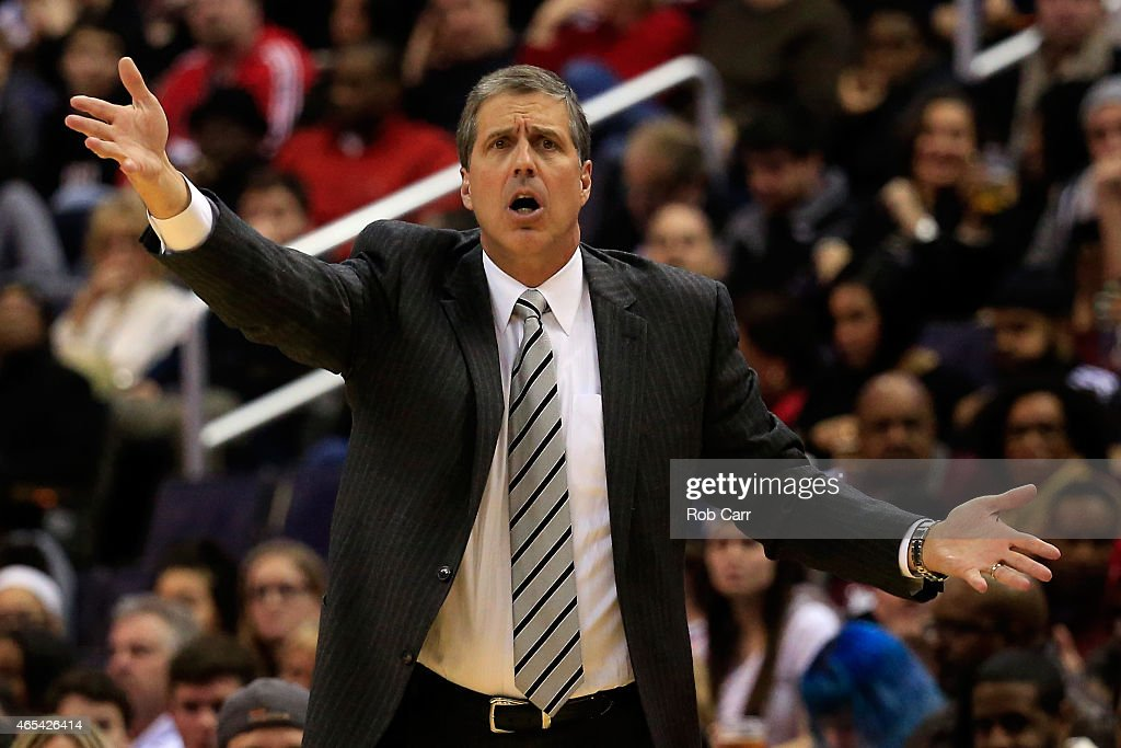 Head coach <a gi-track='captionPersonalityLinkClicked' href=/galleries/search?phrase=Randy+Wittman&family=editorial&specificpeople=679109 ng-click='$event.stopPropagation()'>Randy Wittman</a> of the Washington Wizards reacts to an officials call during the first half against the Miami Heat at Verizon Center on March 6, 2015 in Washington, DC.
