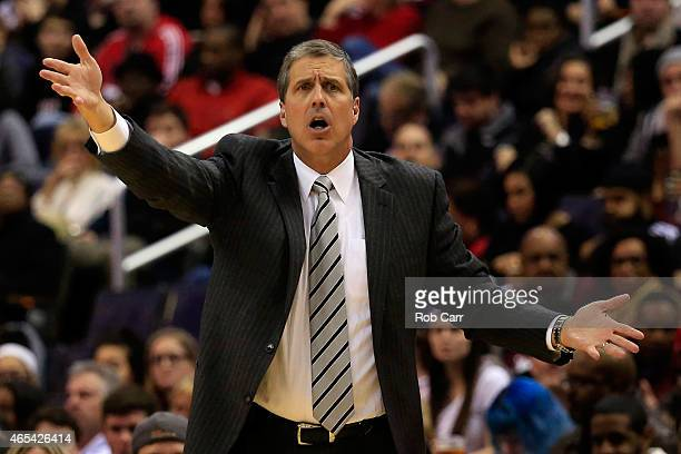 Head coach Randy Wittman of the Washington Wizards reacts to an officials call during the first half against the Miami Heat at Verizon Center on...