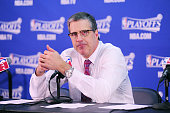 Head coach Randy Wittman of the Washington Wizards speaks to press after the win against the Atlanta Hawks Game One of the Eastern Conference...