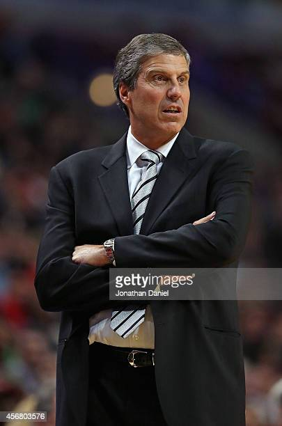 Head coach Randy Wittman of the Washington Wizards watches as his team takes on the Chicago Bulls during a preseason game at the United Center on...