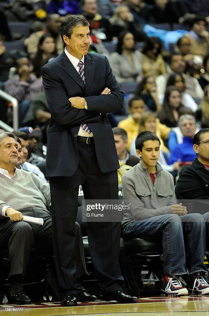 Head coach Randy Wittman of the Washington Wizards watches the game against the Cleveland Cavaliers at the Verizon Center on December 26, 2012 in Washington, DC.