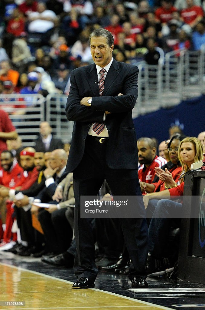 Head coach Randy Wittman of the Washington Wizards watches the game in the first quarter against the Toronto Raptors during Game Four of the Eastern...