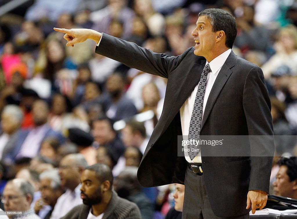 Head coach <a gi-track='captionPersonalityLinkClicked' href=/galleries/search?phrase=Randy+Wittman&family=editorial&specificpeople=679109 ng-click='$event.stopPropagation()'>Randy Wittman</a> of the Washington Wizards yells from the bench during the first half against the Sacramento Kings at Verizon Center on February 22, 2012 in Washington, DC.
