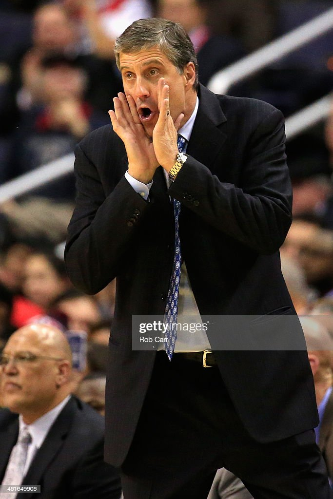 Head coach Randy Wittman of the Washington Wizards yells from the bench during the second half of the Wizards 10280 loss to the Brooklyn Nets at...