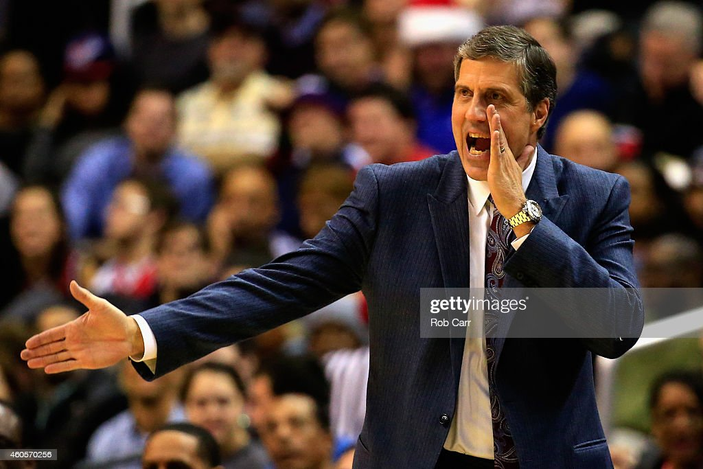 Head coach Randy Wittman of the Washington Wizards yells to his players during the second half against the Minnesota Timberwolves at Verizon Center...