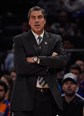 Head Coach Randy Wittman of the Washington Wizardslooks on against the New York Knicks at Madison Square Garden on November 4 2014 in New York City
