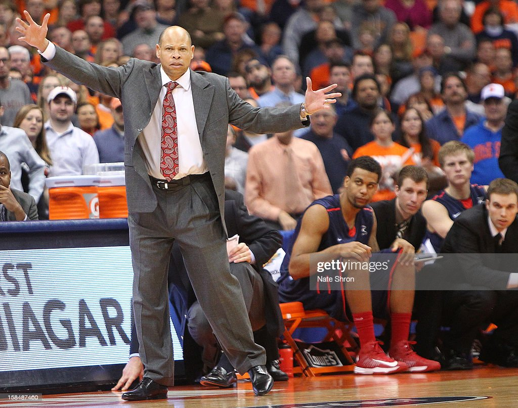 Head coach Ray McCallum of the Detroit Titans reacts after a play during the game against the Syraucs Orange at the Carrier Dome on December 17, 2012 in Syracuse, New York.