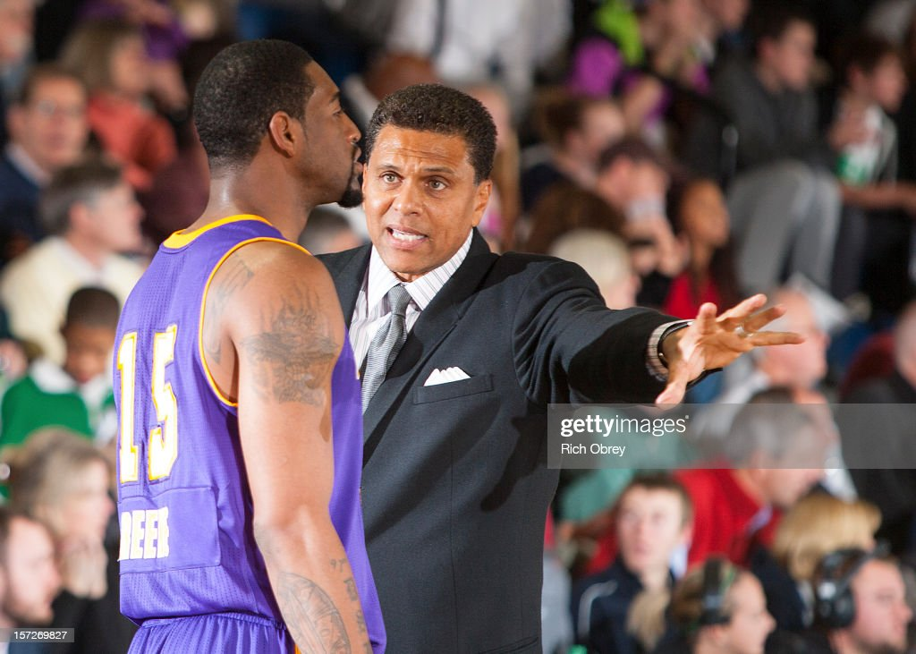 Head Coach Reggie Theus of the Los Angeles D-Fenders gives instructions to Orien Greene #15 during the game against the Maine Red Claws on November 30, 2012 at the Portland Expo in Portland, Maine.