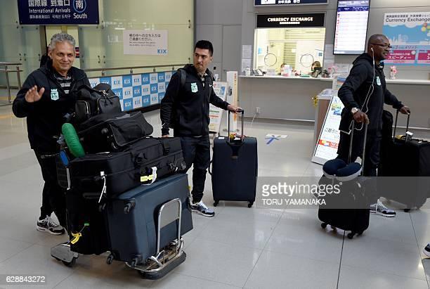 Head coach Reinaldo Rueda and other team members of Colombian football club Atletico Nacional arrive at Kansai Airport in Izumisano Osaka prefecture...