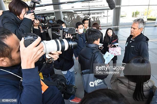 Head coach Reinaldo Rueda of Colombian football club Atletico Nacional answers questions upon their arrival at Kansai Airport in Izumisano Osaka...