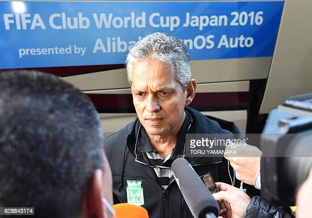 Head coach Reinaldo Rueda of Colombian football club Atletico Nacional answers questions upon their arrival at Kansai Airport in Izumisano Osaka...