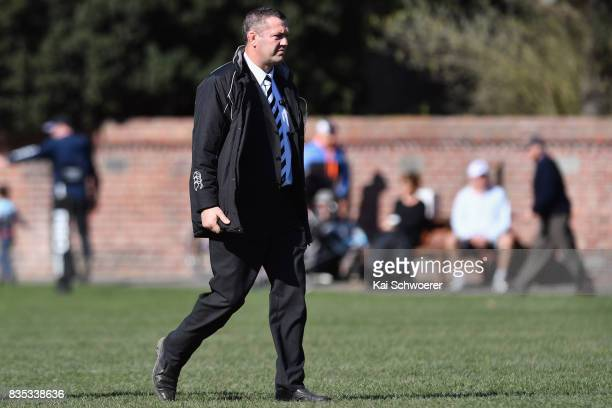 Head Coach Reuben Thorne of Christ's College looks on during the Christchurch High School Semi Final match between Christ's College and Timaru Boys'...