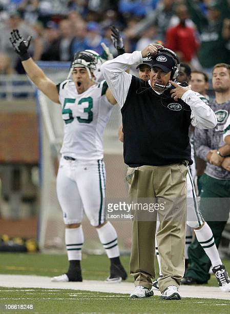 Head coach Rex Ryan and Josh Mauga of the New York Jets celebrate a 2320 ovetime win over the Detroit Lions at Ford Field on November 7 2010 in...