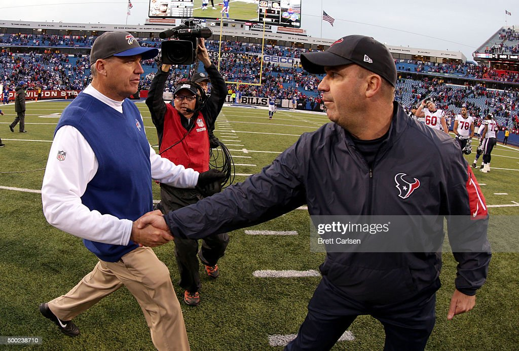 Head Coach Rex Ryan of the Buffalo Bills and Head Coach Bill O'Brien of the Houston Texans shake hands after the game at Ralph Wilson Stadium on...