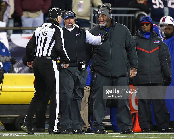 Head coach Rex Ryan of the Buffalo Bills argues with the referee during the third quarter against the New England Patriots at Gillette Stadium on...