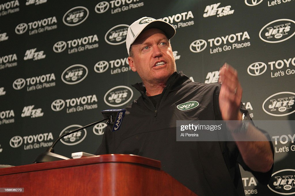 Head Coach <a gi-track='captionPersonalityLinkClicked' href=/galleries/search?phrase=Rex+Ryan&family=editorial&specificpeople=2358658 ng-click='$event.stopPropagation()'>Rex Ryan</a> of the New York Jets addresses the media during New York Jets Rookie Minicamp at the Atlantic Health Jets Training Center on May 12, 2013 in Florham Park, New Jersey.