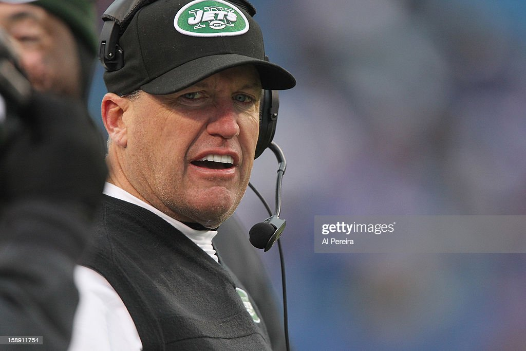 Head Coach Rex Ryan of the New York Jets calls a play against the Buffalo Bills when the Buffalo Bills host the New York Jets at Ralph Wilson Stadium on December 30, 2012 in Orchard Park, New York.