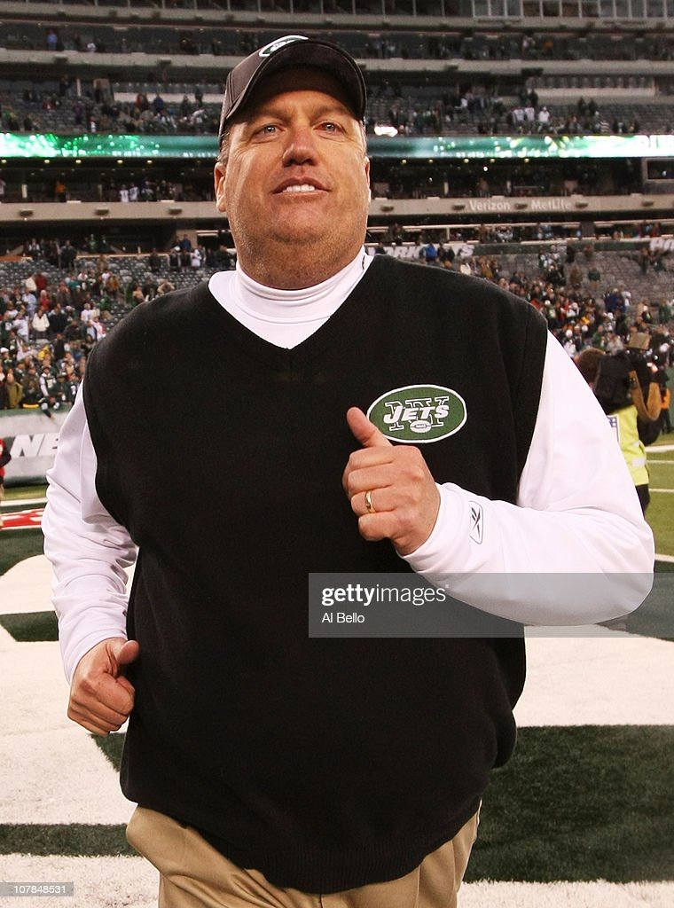 Head coach Rex Ryan of the New York Jets celebrates their 38 - 7 win over the Buffalo Bills at New Meadowlands Stadium on January 2, 2011 in East Rutherford, New Jersey.