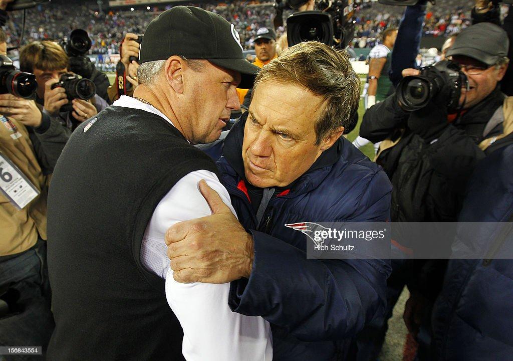 Head coach <a gi-track='captionPersonalityLinkClicked' href=/galleries/search?phrase=Rex+Ryan&family=editorial&specificpeople=2358658 ng-click='$event.stopPropagation()'>Rex Ryan</a> of the New York Jets hugs Head coach <a gi-track='captionPersonalityLinkClicked' href=/galleries/search?phrase=Bill+Belichick&family=editorial&specificpeople=201822 ng-click='$event.stopPropagation()'>Bill Belichick</a> of the New England Patriots after the Patriots defeated the Jets 49-19 at MetLife Stadium on November 22, 2012 in East Rutherford, New Jersey.