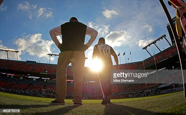 Head coach Rex Ryan of the New York Jets looks on during a game against the Miami Dolphins at Sun Life Stadium on December 28 2014 in Miami Gardens...