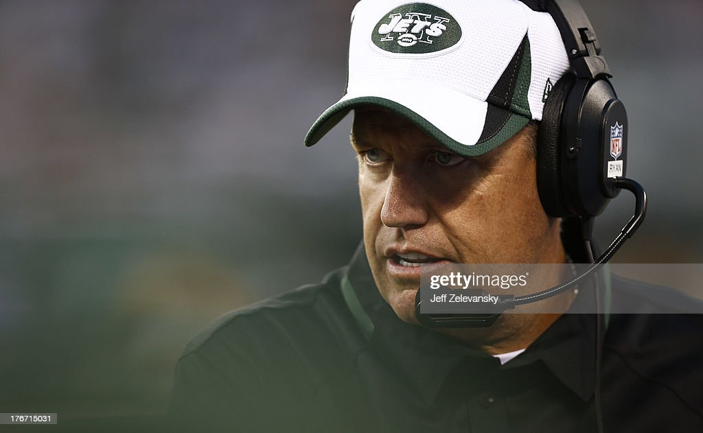 Head coach Rex Ryan of the New York Jets walks the sidelines against the Jacksonville Jaguars during their preseason game at MetLife Stadium on August 17, 2013 in East Rutherford, New Jersey.