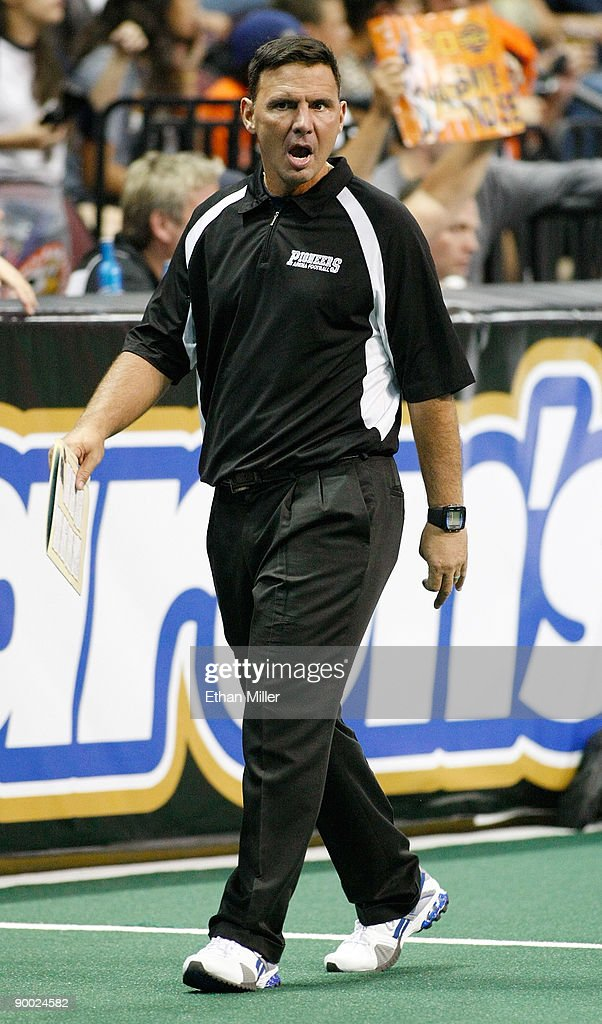 Head coach Rich Ingold of the Wilkes-Barre/Scranton Pioneers walks on the field during his team's 74-27 loss to the Spokane Shock in the AFL2 ArenaCup 10 at the Orleans Arena August 22, 2009 in Las Vegas, Nevada.