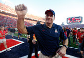 Head coach Rich Rodriguez of the Arizona Wildcats celebrates after defeating the Arizona State Sun Devils 4235 to win the PAC12 south championship...
