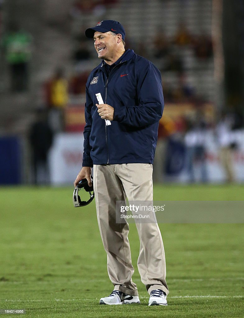 Head coach Rich Rodriguez of the Arizona Wildcats reacts during the game against the USC Trojans at Los Angeles Coliseum on October 10, 2013 in Los Angeles, California. USC won 38-31.