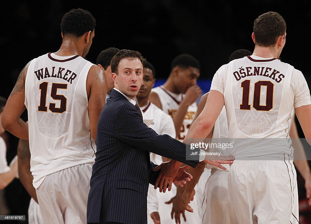 Head coach Richard Pitino of the Minnesota Golden Gophers looks on during the NIT Championship semifinals against the Florida State Seminoles at Madison Square Garden on April 1, 2014 in New York City.